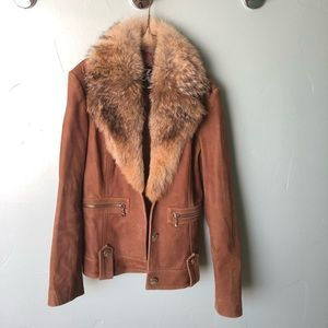 Jackets & Blazers - Leather coat with removable fur collar